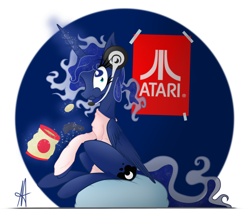 Size: 1878x1626 | Tagged: safe, artist:ardas91, princess luna, alicorn, pony, gamer luna, abstract background, alternate hairstyle, atari, chips, clothes, controller, cute, eating, female, food, gaming headset, looking at you, lunabetes, magic, mare, poster, potato chips, profile, shirt, sitting, solo, telekinesis