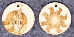 Size: 1014x507   Tagged: safe, artist:malte279, princess celestia, craft, cutie mark, jewelry, pendant, pyrography, traditional art, wood