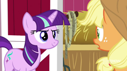 Size: 1280x720   Tagged: safe, screencap, applejack, starlight glimmer, earth pony, unicorn, harvesting memories, spoiler:harvesting memories, spoiler:mlp friendship is forever, alternate hairstyle, female, implied twilight sparkle, mane swap, mare, starlight sparkle, sweet apple acres