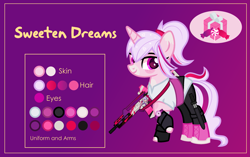 Size: 3001x1881 | Tagged: safe, artist:n0kkun, oc, oc only, oc:sweeten dreams, pony, unicorn, assault rifle, belt, boots, clothes, female, fingerless gloves, freckles, g36, gloves, gun, heckler and koch, knife, leggings, mare, markings, multicolored mane, raised hoof, reference sheet, rifle, shirt, shoes, solo, watch, weapon, wristwatch
