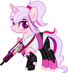 Size: 1600x1699 | Tagged: safe, alternate version, artist:n0kkun, oc, oc only, oc:sweeten dreams, pony, unicorn, assault rifle, belt, boots, clothes, female, fingerless gloves, freckles, g36, gloves, gun, heckler and koch, knife, leggings, mare, markings, multicolored hair, raised hoof, rifle, shirt, shoes, simple background, solo, transparent background, watch, weapon, wristwatch