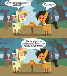 Size: 1280x1440 | Tagged: safe, artist:archooves, oc, oc:chilenia, oc:tailcoatl, earth pony, pegasus, pony, avocado, chile, dialogue, food, guacamole, mexico, nation ponies, pointy ponies, ponified, spanish, translation request