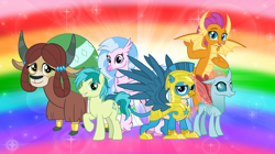 Size: 1280x719 | Tagged: safe, artist:andoanimalia, gallus, ocellus, sandbar, silverstream, smolder, yona, changedling, changeling, classical hippogriff, dragon, earth pony, griffon, hippogriff, pony, yak, the last problem, armor, cloven hooves, colored hooves, dragoness, female, flying, helmet, jewelry, male, monkey swings, necklace, older, older gallus, older ocellus, older sandbar, older silverstream, older smolder, older student six, older yona, rainbow, rainbow background, royal guard gallus, stallion, story included, student six