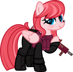 Size: 1600x1575 | Tagged: safe, artist:n0kkun, oc, oc only, oc:sakura scorch, pegasus, pony, armor, ash-12.7, assault rifle, body armor, boots, clothes, female, freckles, gloves, gun, mare, pants, pouch, raised hoof, rifle, shoes, simple background, solo, transparent background, weapon