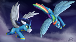 Size: 3840x2160 | Tagged: safe, artist:tenebrisnoctus, rainbow dash, soarin', pegasus, pony, clothes, female, flying, looking at each other, male, mare, night, shipping, sky, soarindash, stallion, straight, uniform, wonderbolts uniform