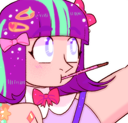 Size: 556x534 | Tagged: safe, artist:stevetwisp, starlight glimmer, human, alternate hairstyle, bowtie, female, food, humanized, pocky, solo