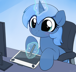 Size: 3000x2855 | Tagged: source needed, safe, artist:moozua, oc, oc only, oc:paamayim nekudotayim, pony, unicorn, blushing, cel shading, chair, commission, computer screen, cute, drawing, drawing tablet, female, gradient background, looking at something, magic, mare, no source available, ocbetes, shading, signature, sitting, smiling, solo, stylus, table, telekinesis, wacom, wacom tablet