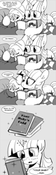 Size: 960x3000 | Tagged: safe, artist:mamatwilightsparkle, smarty pants, spike, twilight sparkle, dragon, pony, unicorn, baby, baby spike, bed, blanket, blushing, book, clothes, comic, mama twilight sparkle, monochrome, pajamas, reading, sleeping, the very hungry caterpillar, tumblr, younger