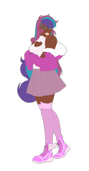 Size: 875x1687 | Tagged: safe, artist:blacksky1113, artist:icey-wicey-1517, color edit, edit, oc, oc only, oc:myringa, human, boob window, breasts, clothes, coat, collaboration, colored, colored sclera, converse, crossed arms, dark skin, female, fur coat, grin, heart, humanized, humanized oc, kneesocks, multicolored hair, not flurry heart, shoes, simple background, skirt, smiling, smug, socks, solo, stockings, tanktop, thigh highs, transparent background, zettai ryouiki