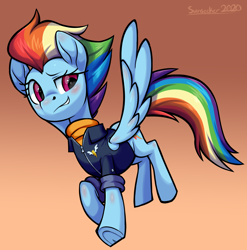 Size: 2912x2944 | Tagged: safe, artist:moonseeker, rainbow dash, pegasus, pony, the last problem, alternate hairstyle, blushing, clothes, female, grin, high res, mare, older, older rainbow dash, signature, simple background, smiling, solo
