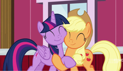 Size: 1145x666 | Tagged: safe, screencap, applejack, twilight sparkle, alicorn, earth pony, pony, harvesting memories, spoiler:harvesting memories, spoiler:mlp friendship is forever, cheek squish, cropped, cute, duo, eyes closed, happy, holding hooves, hug, jackabetes, smiling, squishy cheeks, twiabetes, twilight sparkle (alicorn)
