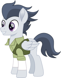 Size: 1170x1500 | Tagged: safe, artist:cloudyglow, rumble, pegasus, pony, anastasia, clothes, crossover, dimitri, don bluth, male, movie accurate, older, older rumble, simple background, solo, stallion, transparent background