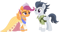 Size: 2758x1500 | Tagged: safe, artist:cloudyglow, rumble, scootaloo, pegasus, pony, anastasia, clothes, crossover, don bluth, dress, duo, ear piercing, earring, female, jewelry, looking at each other, male, mare, movie accurate, older, older rumble, older scootaloo, piercing, rumbloo, shipping, simple background, stallion, straight, tomboy taming, transparent background