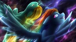 Size: 1280x720 | Tagged: safe, artist:jadekettu, lightning dust, rainbow dash, pegasus, pony, duo, female, flight trail, flying, lightning, mare, rainbow trail, smiling, spread wings, wings