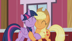 Size: 1280x720 | Tagged: safe, screencap, applejack, twilight sparkle, alicorn, earth pony, pony, harvesting memories, spoiler:harvesting memories, spoiler:mlp friendship is forever, cheek squish, cute, daaaaaaaaaaaw, duo, eyes closed, happy, holding hooves, hug, smiling, squishy cheeks, sweet apple acres barn, twilight sparkle (alicorn)