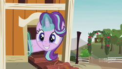 Size: 1280x720 | Tagged: safe, screencap, starlight glimmer, pony, unicorn, harvesting memories, spoiler:harvesting memories, spoiler:mlp friendship is forever, 9now, apple, apple tree, book, chicken coop, cute, excited, female, glimmerbetes, glowing horn, grin, hair flip, levitation, magic, magic aura, mare, smiling, solo, sweet apple acres, telekinesis, tree