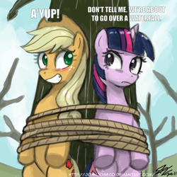Size: 800x800 | Tagged: safe, artist:johnjoseco, edit, applejack, twilight sparkle, earth pony, pony, unicorn, secret of my excess, adobe imageready, blushing, bondage, dialogue, duo, female, looking at each other, mare, rope, scene interpretation, the emperor's new groove, tied up, tree, unicorn twilight