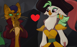 Size: 1302x804 | Tagged: safe, edit, edited screencap, screencap, capper dapperpaws, captain celaeno, my little pony: the movie, caplaeno, cropped, female, heart, male, shipping, shipping domino, straight