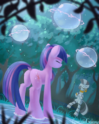 Size: 2000x2500 | Tagged: safe, artist:emeraldgalaxy, twilight sparkle, zecora, pony, unicorn, zebra, magic duel, bipedal, butt, dock, duo, ear piercing, earring, everfree forest, eyes closed, female, hooves together, hydrokinesis, jewelry, leg fluff, magic, magic aura, mare, meditating, mentoring, mohawk, neck rings, piercing, plot, scene interpretation, shaman, standing, standing on one leg, standing on water, stress relief, telekinesis, training, tree, unicorn twilight, water
