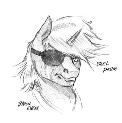 Size: 1242x1256 | Tagged: safe, artist:baron engel, oc, oc:steel prism, unicorn, black and white, bust, eyepatch, grayscale, looking at you, male, monochrome, pencil drawing, signature, simple background, solo, stallion, traditional art