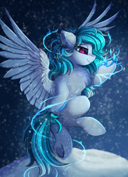 Size: 2550x3509 | Tagged: safe, artist:pridark, oc, pegasus, pony, chest fluff, commission, female, flying, ice, magic, mare, smiling, snow, solo