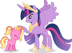 Size: 6147x4500   Tagged: safe, artist:limedazzle, luster dawn, twilight sparkle, alicorn, pony, unicorn, absurd resolution, crown, cute, cutie mark, ethereal mane, female, filly, filly luster dawn, hoof shoes, jewelry, mare, older, older twilight, regalia, show accurate, simple background, smiling, starry mane, transparent background, twilight sparkle (alicorn), younger