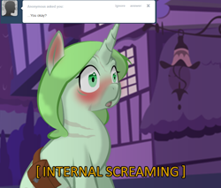 Size: 900x766 | Tagged: safe, artist:askmerriweatherauthor, oc, oc:merriweather, pony, unicorn, ask merriweather, blushing, female, internal screaming, mare, scar, solo