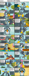Size: 1282x3304 | Tagged: safe, gabby, griffon, comic:celestia's servant interview, the fault in our cutie marks, caption, cs captions, cute, female, gabbybetes, interview, looking at you, solo