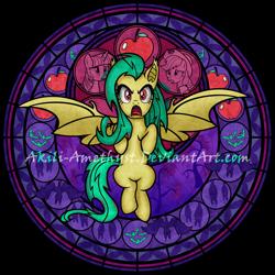 Size: 894x894 | Tagged: safe, artist:akili-amethyst, edit, applejack, fluttershy, twilight sparkle, oc, oc:emileeshy, alicorn, bat pony, earth pony, pegasus, pony, bats!, angry, bat ponified, bat pony oc, bat wings, dive to the heart, flutterbat, kingdom hearts, race swap, rage, recolor, red eyes, stained glass, twilight sparkle (alicorn), wings