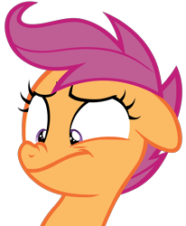 Size: 3300x4000 | Tagged: safe, artist:pianocube, scootaloo, pegasus, pony, on your marks, floppy ears, juxtaposition bait, nose wrinkle, reaction image, scrunchy face, simple background, solo, transparent background, vector
