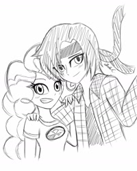 Size: 1280x1604 | Tagged: safe, artist:iamsheila, pinkie pie, oc, human, equestria girls, camp everfree logo, camp everfree outfits, canon x oc, commission, commissioner:zombielandundead, humanized, ocxcanon, sketch, sketch commission