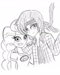 Size: 1280x1604 | Tagged: safe, artist:iamsheila, pinkie pie, oc, human, equestria girls, camp everfree logo, camp everfree outfits, canon x oc, commission, commissioner:zombielandundead, humanized, sketch, sketch commission