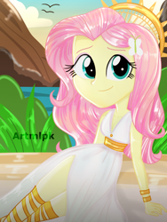 Size: 1536x2048   Tagged: safe, artist:artmlpk, fluttershy, equestria girls, adorable face, adorkable, angel, beautiful, beret, breasts, cleavage, cute, digital art, dork, goddess, grass, greek, greek goddess, greek mythology, halo, hat, looking at you, mountain, ocean, plant, shyabetes, sitting, smiling, smiling at you