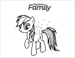 Size: 1650x1275 | Tagged: safe, artist:discoveryfamily, rainbow dash, pegasus, pony, connect the dots, discovery family logo, monochrome, official, simple background, solo, white background