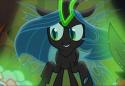 Size: 1366x940 | Tagged: safe, screencap, queen chrysalis, frenemies (episode), cropped, evil grin, glowing horn, grin, horn, smiling, solo
