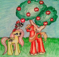 Size: 481x470   Tagged: safe, artist:fun2berandom, big macintosh, fluttershy, oc, oc:night sickle, earth pony, pegasus, pony, adopted offspring, apple, apple tree, colt, family, female, fluttermac, male, mare, offspring, parent:big macintosh, parent:fluttershy, parents:fluttermac, reaching out, request, shipping, stallion, straight, traditional art, tree