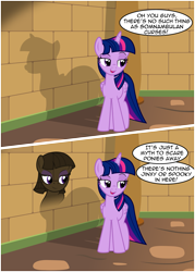 Size: 2901x4058 | Tagged: safe, artist:badumsquish, derpibooru exclusive, twilight sparkle, oc, alicorn, monster pony, original species, pony, shadow pony, comic, dialogue, dreamworks face, duo, egyptian pony, famous last words, female, folded wings, implied mane six, pyramid, raised eyebrow, shadow, show accurate, smiling, smirk, smug, talking, this will end in spook, twilight sparkle (alicorn), wings