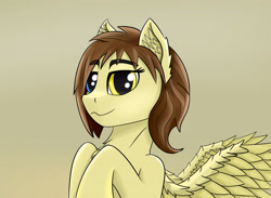 Size: 3250x2380 | Tagged: safe, artist:singovih, oc, oc only, oc:motley cloud, pegasus, pony, fallout equestria, brown mane, ear fluff, fallout equestria: parallelism, female, heterochromia, looking at you, mare, soldier pony, solo