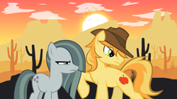 Size: 2063x1161 | Tagged: safe, braeburn, marble pie, badass, badass adorable, badass pose, battle couple, braeble, braeburn is not amused, cactus, cute, desert, female, lyrics in the description, male, marble pie is not amused, mountain, shipping, song reference, straight, sunset, western, wild west, youtube link