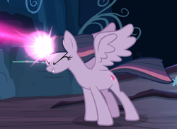 Size: 1173x854 | Tagged: safe, screencap, mean twilight sparkle, the mean 6, blast, cropped, eyes closed, glowing horn, horn, magic, magic beam, magic blast, smiling, solo, spread wings, wings