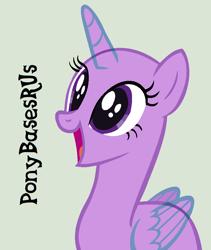 Size: 780x924 | Tagged: safe, artist:ponybasesrus, oc, alicorn, pony, alicorn oc, bald, base, eyelashes, horn, open mouth, simple background, smiling, solo, wings