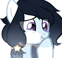 Size: 668x618 | Tagged: safe, artist:skulifuck, oc, oc only, earth pony, pony, base used, bust, colored hooves, earth pony oc, ethereal mane, eye clipping through hair, noblewoman's laugh, simple background, smiling, starry mane, transparent background