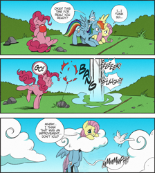 Size: 1326x1477 | Tagged: safe, artist:nekoshiei, edit, edited edit, editor:anonycat, seven seas, fluttershy, pinkie pie, rainbow dash, bird, earth pony, pegasus, my little pony: the manga, ambiguous penetration, balloon, balloon popping, blowing up balloons, blushing, cloud, colored, comic, cropped, dialogue, female, head up butt, mare, mean, penetration, pin, popping, rock, scared