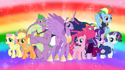 Size: 1280x719 | Tagged: safe, artist:andoanimalia, applejack, fluttershy, pinkie pie, rainbow dash, rarity, spike, starlight glimmer, twilight sparkle, alicorn, dragon, earth pony, pegasus, pony, unicorn, the last problem, clothes, council of friendship, cowboy hat, female, hat, male, mane seven, mane six, mare, older, older applejack, older fluttershy, older mane seven, older mane six, older pinkie pie, older rainbow dash, older rarity, older spike, older twilight, princess twilight 2.0, rainbow background, scarf, story included, twilight sparkle (alicorn)
