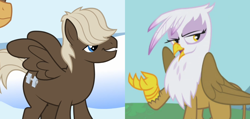 Size: 944x450 | Tagged: safe, screencap, dumbbell, gilda, griffon the brush off, sonic rainboom (episode), cropped, female, gildabell, male, shipping, shipping domino, straight