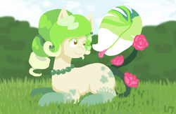 Size: 1536x1000   Tagged: safe, artist:unluckyxse7en, oc, oc only, monster pony, original species, piranha plant pony, plant pony, augmented tail, flower, grass, jewelry, looking back, necklace, outdoors, pearl necklace, plant, prone, rose, smiling, socks (coat marking), tongue out