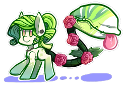 Size: 725x487   Tagged: safe, artist:crumpitcroc, oc, oc only, monster pony, original species, piranha plant pony, plant pony, augmented tail, ear piercing, female, flower, grumpy, jewelry, necklace, pearl necklace, piercing, plant, rose, simple background, smiling, tongue out, transparent background
