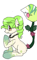 Size: 540x884   Tagged: safe, artist:physcoponiezrule, oc, oc only, monster pony, original species, piranha plant pony, plant pony, :p, augmented tail, ear piercing, fangs, female, flower, jewelry, necklace, pearl necklace, piercing, plant, rose, simple background, sitting, socks (coat marking), tongue out, white background