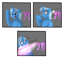 Size: 2356x2156 | Tagged: safe, artist:mikeyboo, trixie, twilight sparkle, alicorn, unicorn, attempted murder, blast, comic, dodge, fight, magic, magic beam, magic blast, request, twilight sparkle (alicorn), underhoof