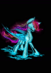 Size: 1240x1754 | Tagged: safe, artist:psaxophone, rainbow dash, pegasus, pony, black background, bone, neon, simple background, skeleton, solo